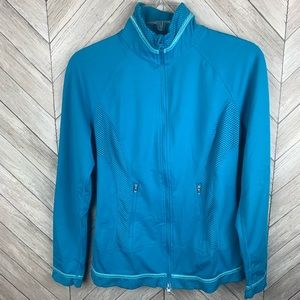 Zella zip up teal mesh cut out jacket. Small.